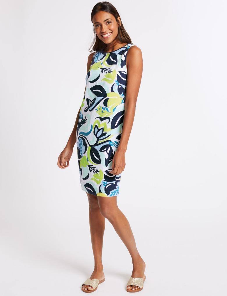 Multi Renk Keten Karışımlı Çiçek Desenli Elbise