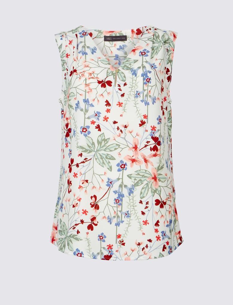 Bej Çiçek Desenli V Yaka Bluz