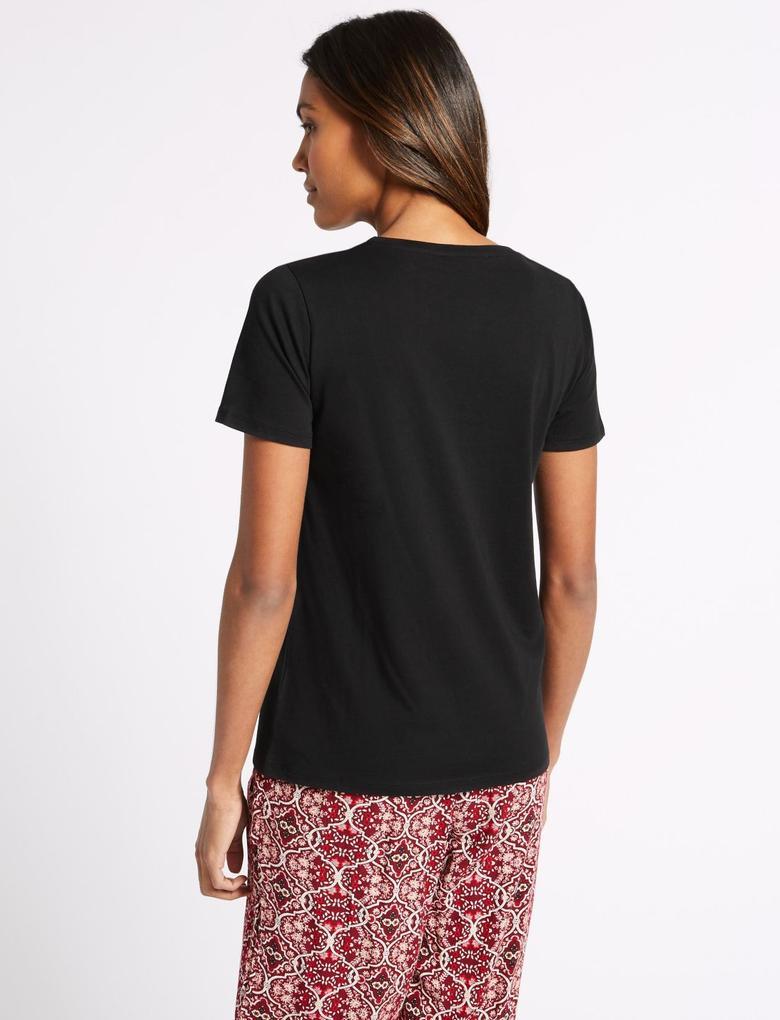 Siyah Saf Pamuklu Yuvarlak Yaka Kısa Kollu T-Shirt