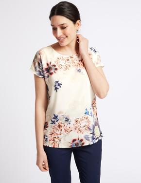 Bej Çiçek Desenli T-Shirt