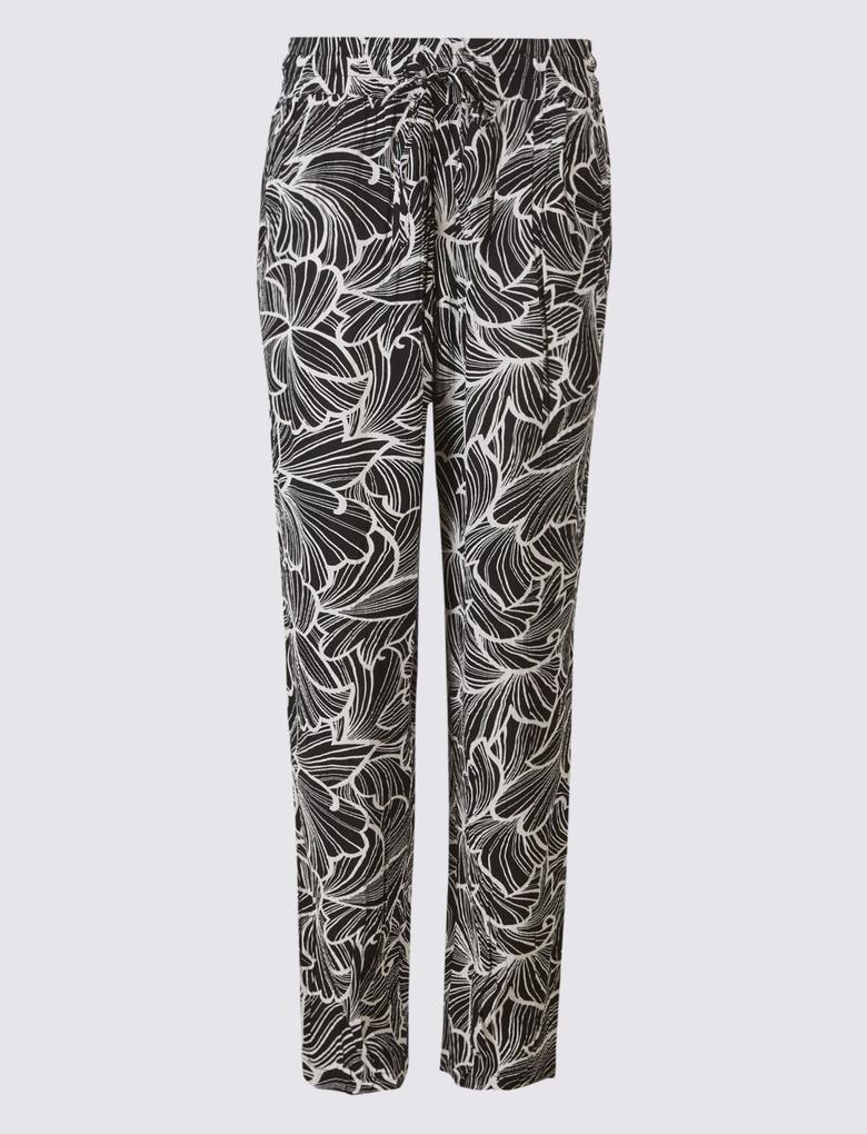 Çiçek Desenli Tapered Peg Pantolon