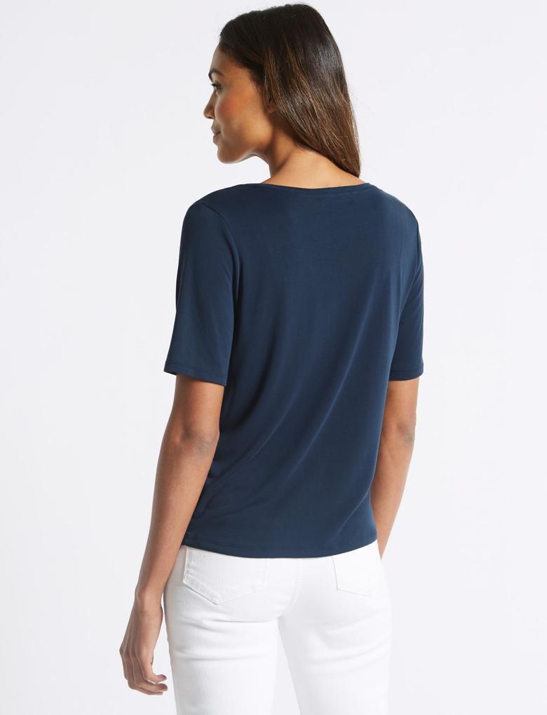 Modal Karışımlı Kısa Kollu V Yaka T-Shirt