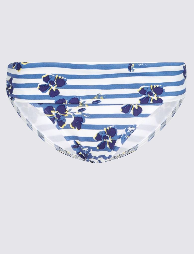 Lacivert Çiçek Desenli Bikini Altı