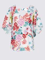 Beyaz Çiçek Desenli V Yaka Bluz