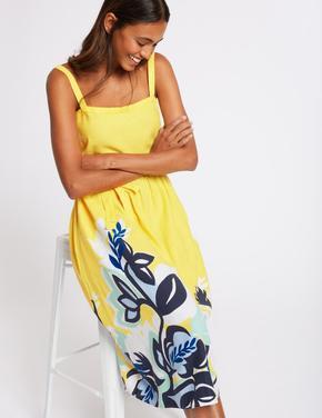 Keten Çiçek Desenli Midi Elbise