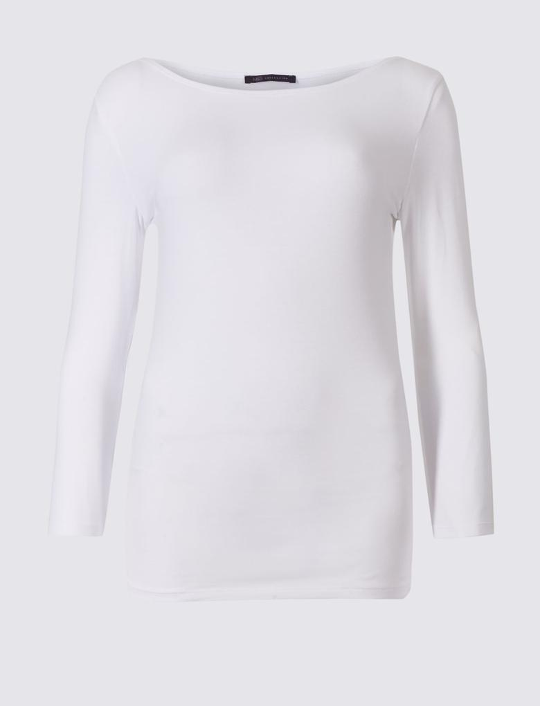 Pamuklu 3/4 Kollu T-Shirt
