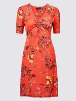 Kadın Pembe Çiçek Desenli Yarım Kollu Jarse Elbise