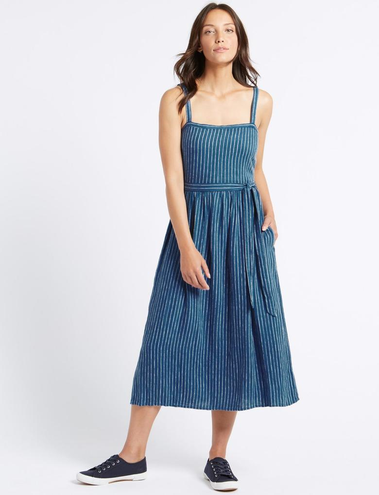 Keten Karışımlı Çizgili Midi Elbise