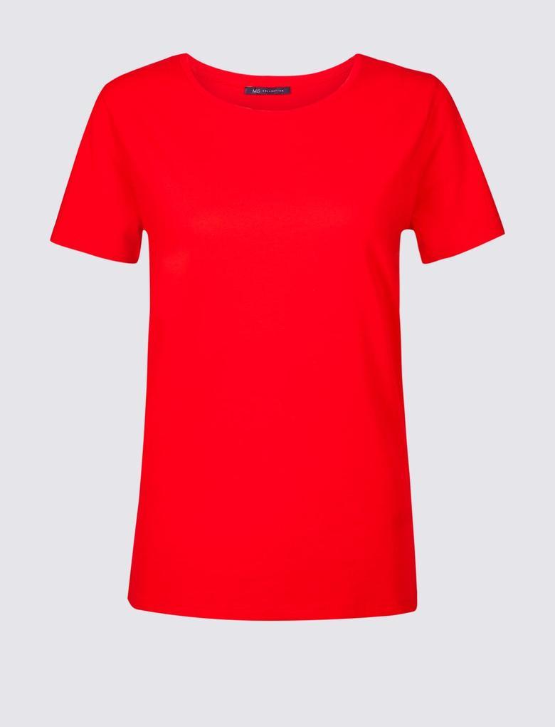Saf Pamuklu Yuvarlak Yaka Kısa Kollu T-Shirt