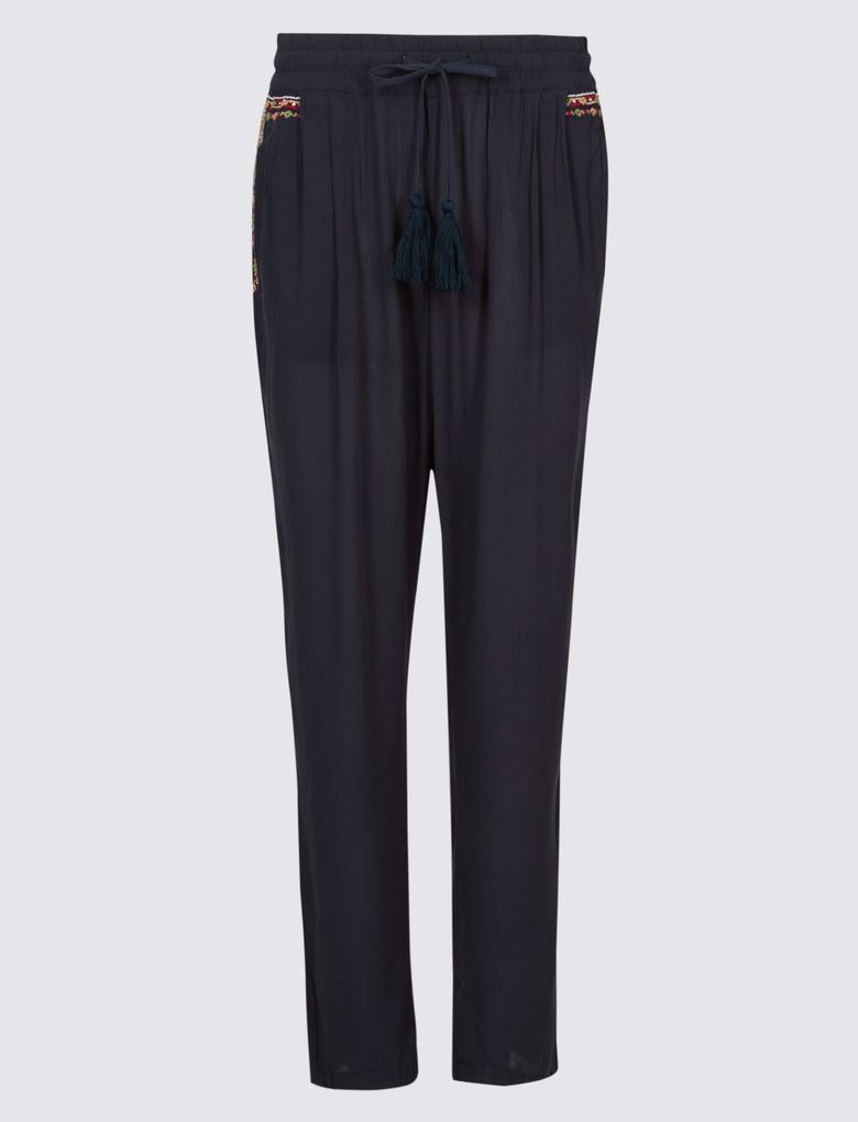 İşlemeli Crinckle Peg Pantolon