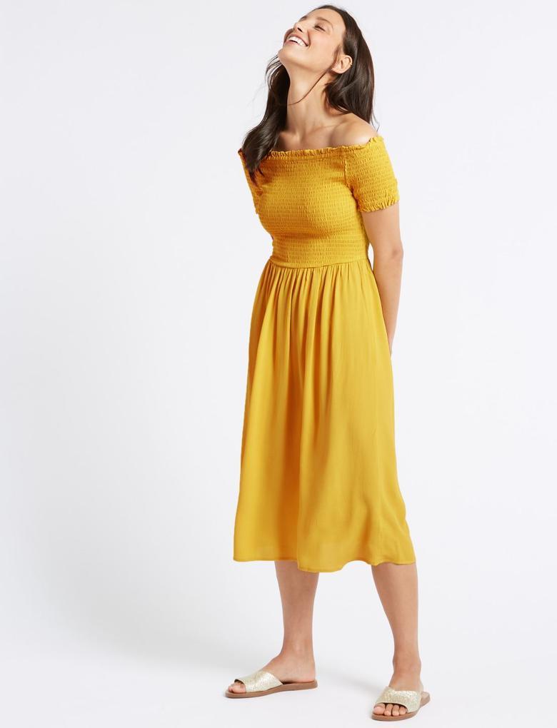 Kadın Sarı Kısa Kollu Midi Elbise