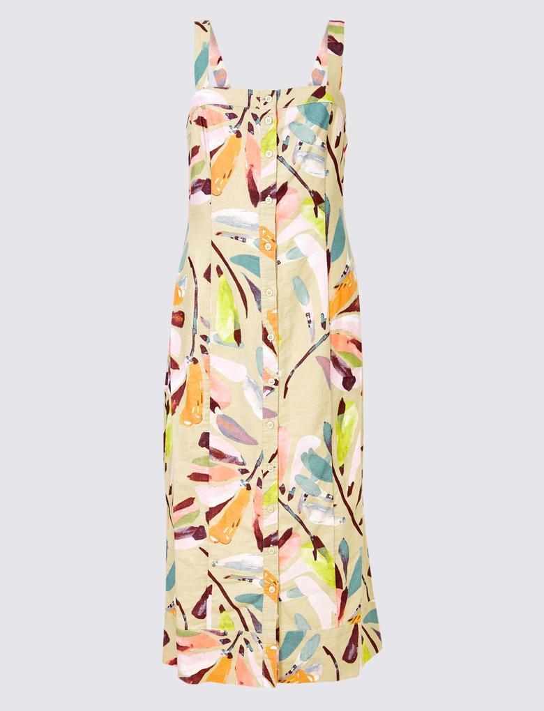 Gri Desenli Keten Midi Elbise