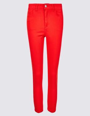 Kadın Kırmızı Orta Belli Super Skinny Leg Kısa Jean Pantolon