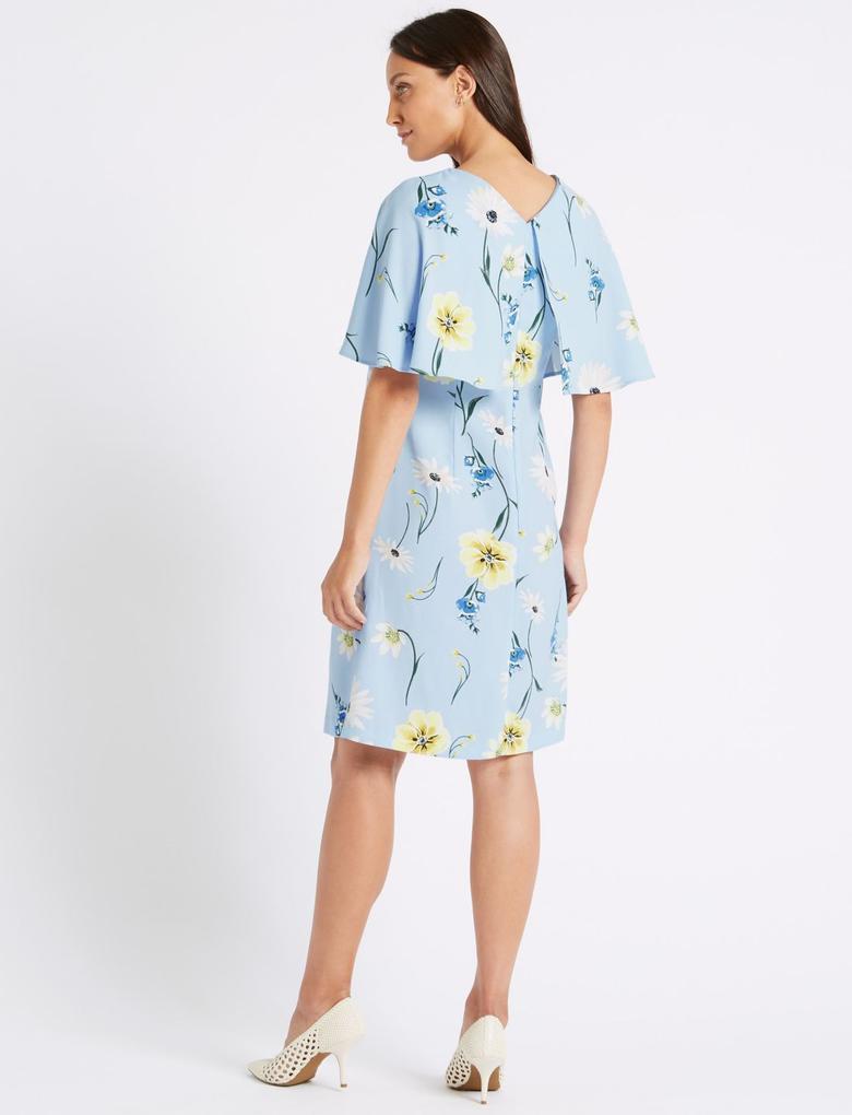 Mavi Çiçek Desenli Yarım Kollu Elbise