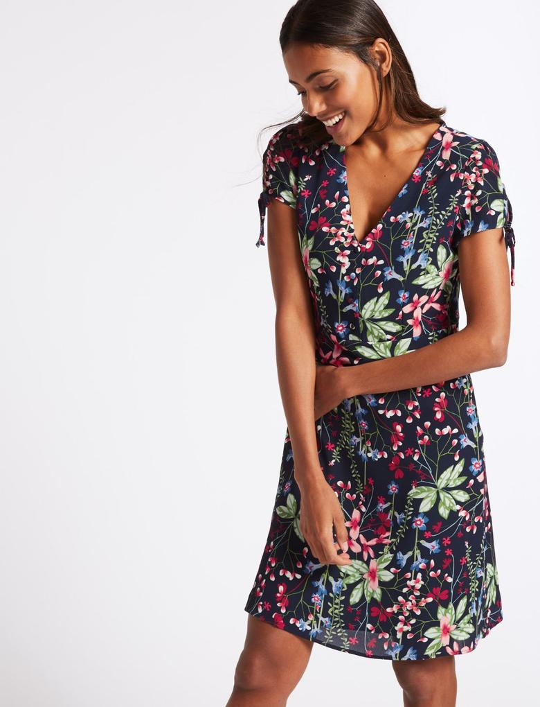 Lacivert Çiçek Desenli Kısa Kollu Elbise