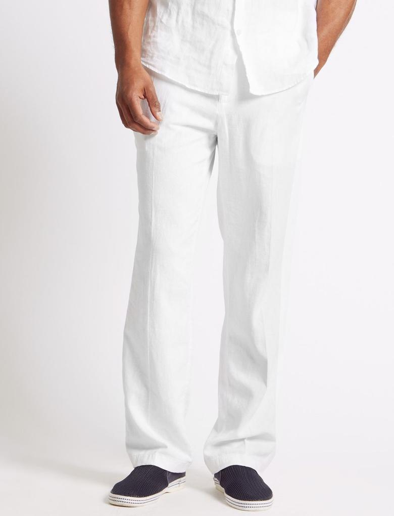 Regular Fit Keten Chino Pantolon