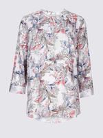Keten Çiçek Desenli Uzun Kollu Bluz