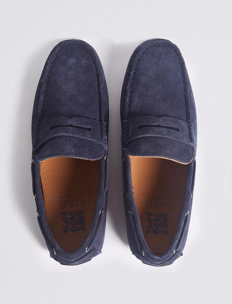 Lacivert Lekeye Dayanıklı Süet Ayakkabı