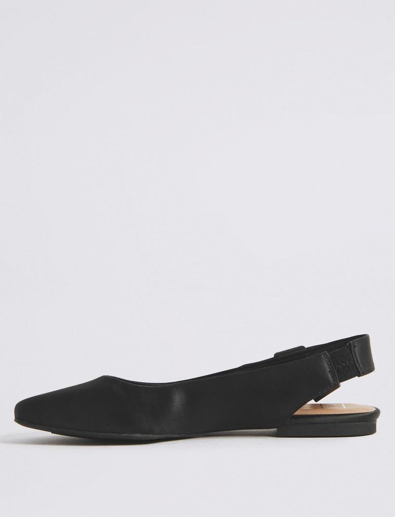 Siyah Yuvarlak Burunlu Düz Taban Ayakkabı