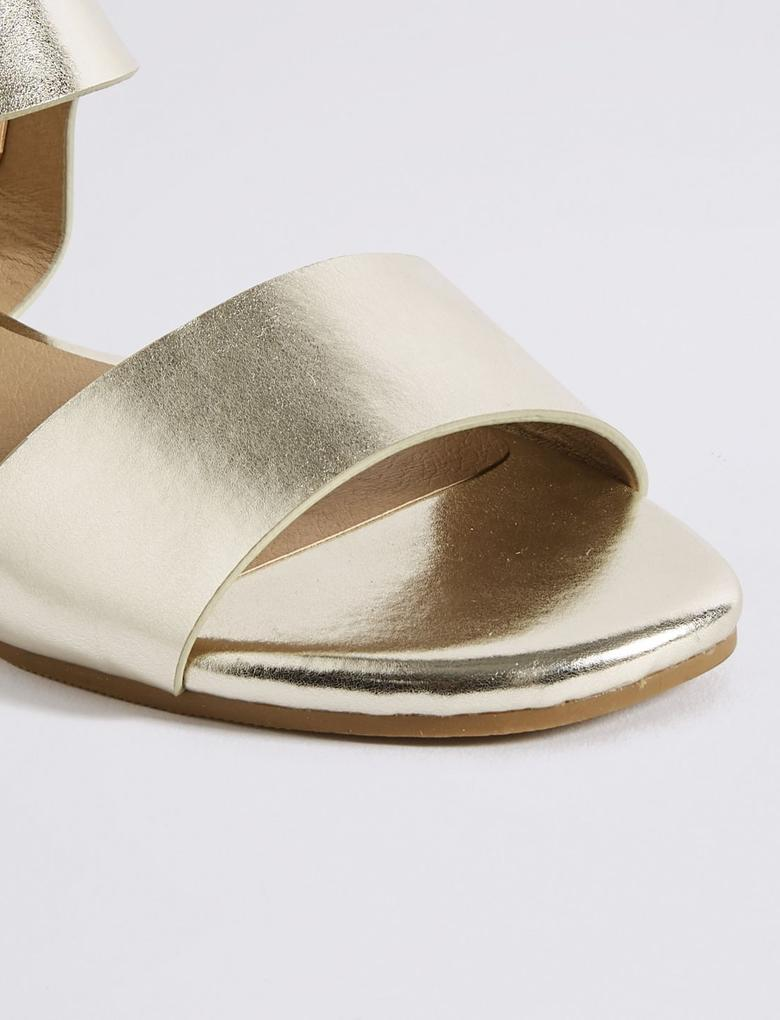 Metalik Arkası Elastik Açık Ayakkabı