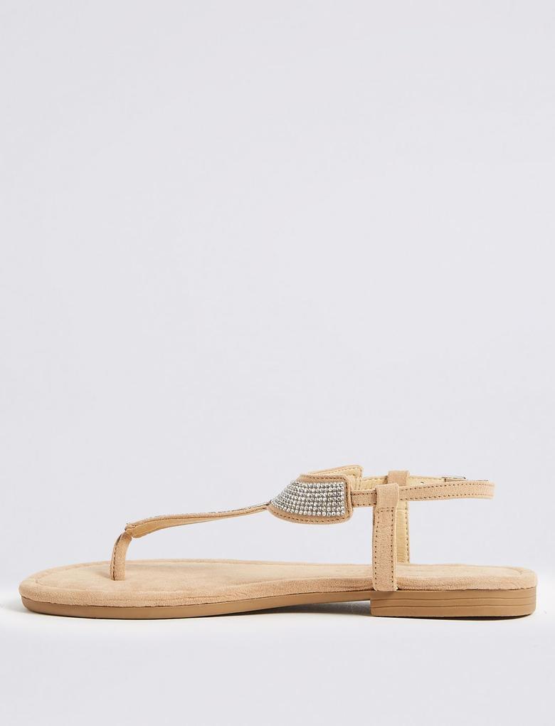 Kadın Renksiz Taşlı Açık Ayakkabı
