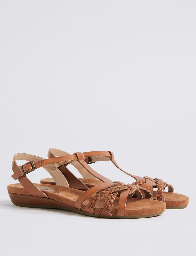 Kadın Bej Geniş Kalıplı Deri Açık Ayakkabı