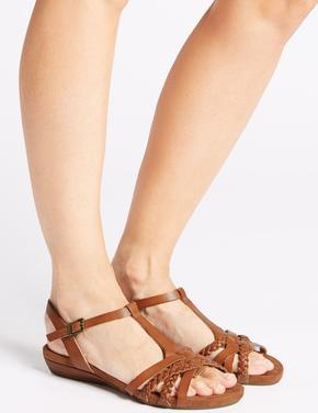Bej Geniş Kalıplı Deri Açık Ayakkabı