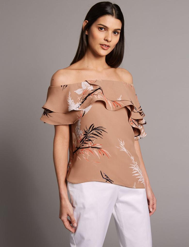 Kahverengi Desenli Yarım Kollu Bardot Bluz
