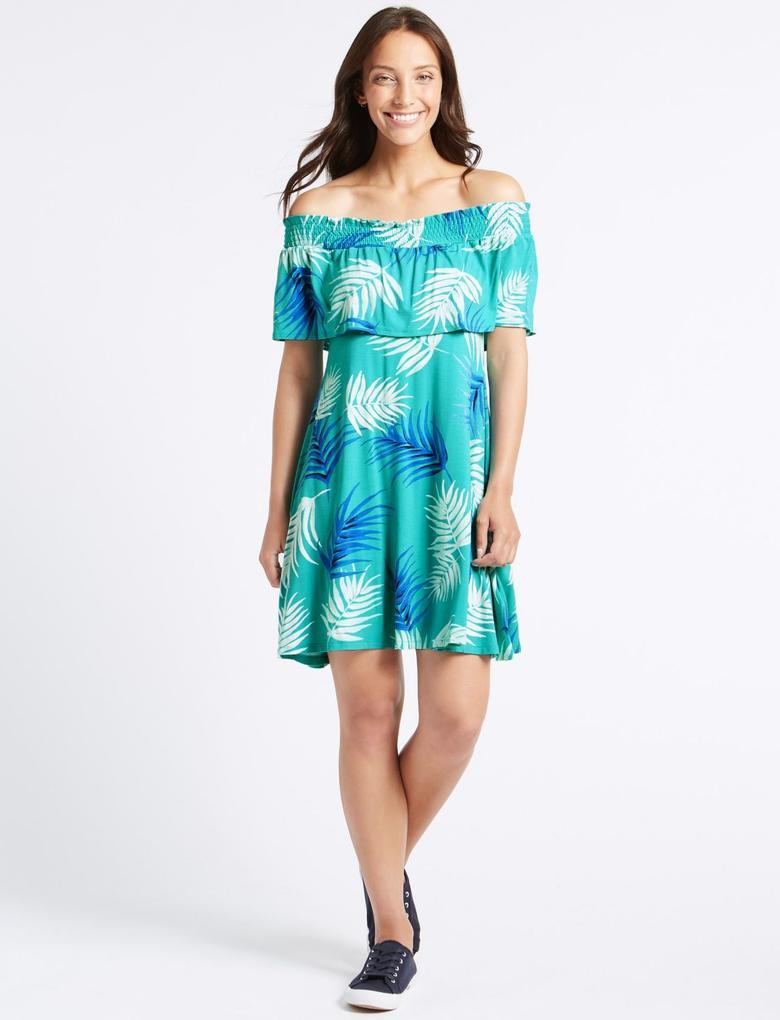 Desenli Yarım Kollu Elbise