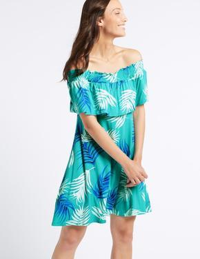 Yeşil Desenli Yarım Kollu Elbise