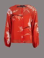 Kırmızı Çiçek Desenli Yuvarlak Yaka Bluz
