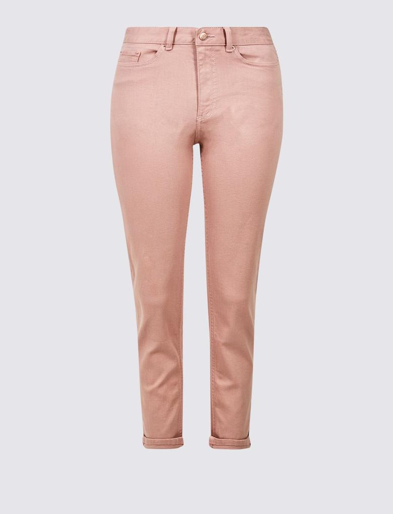 Pembe Relaxed Slim Leg Orta Belli Kısa Jean Pantolon