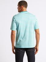Saf Pamuklu Çizgili Sıfır Yaka T-Shirt