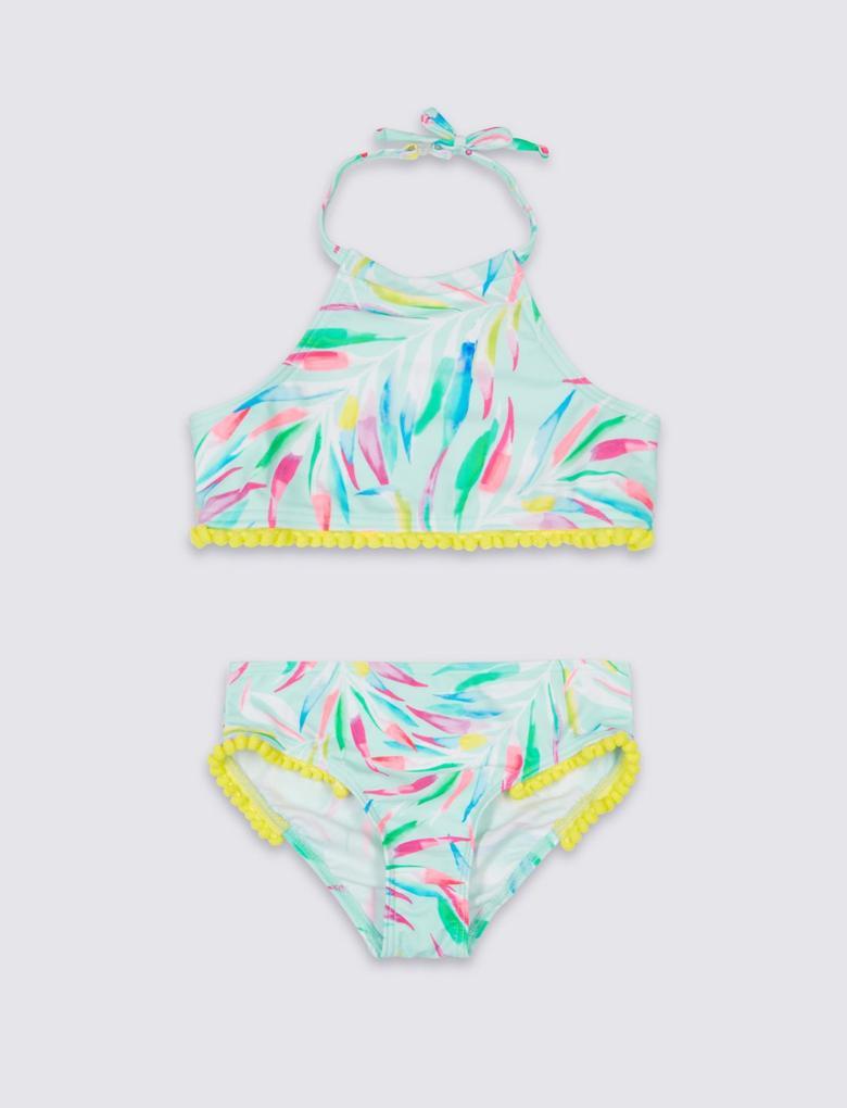 Beyaz 50+ UV Koruma Faktörlü Bikini Takımı