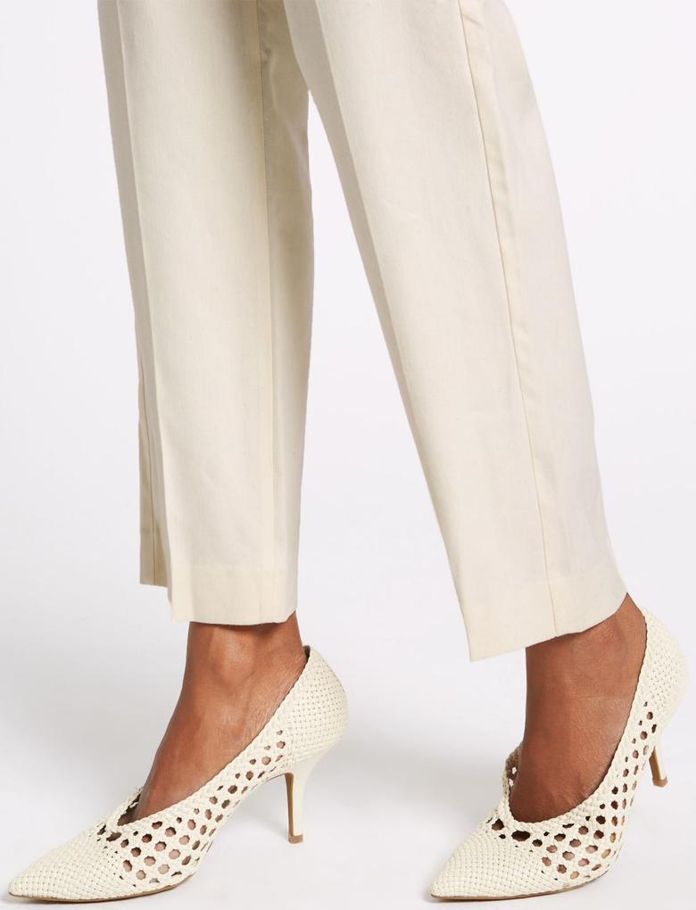 Bej Keten Karışımlı Straight Leg Pantolon