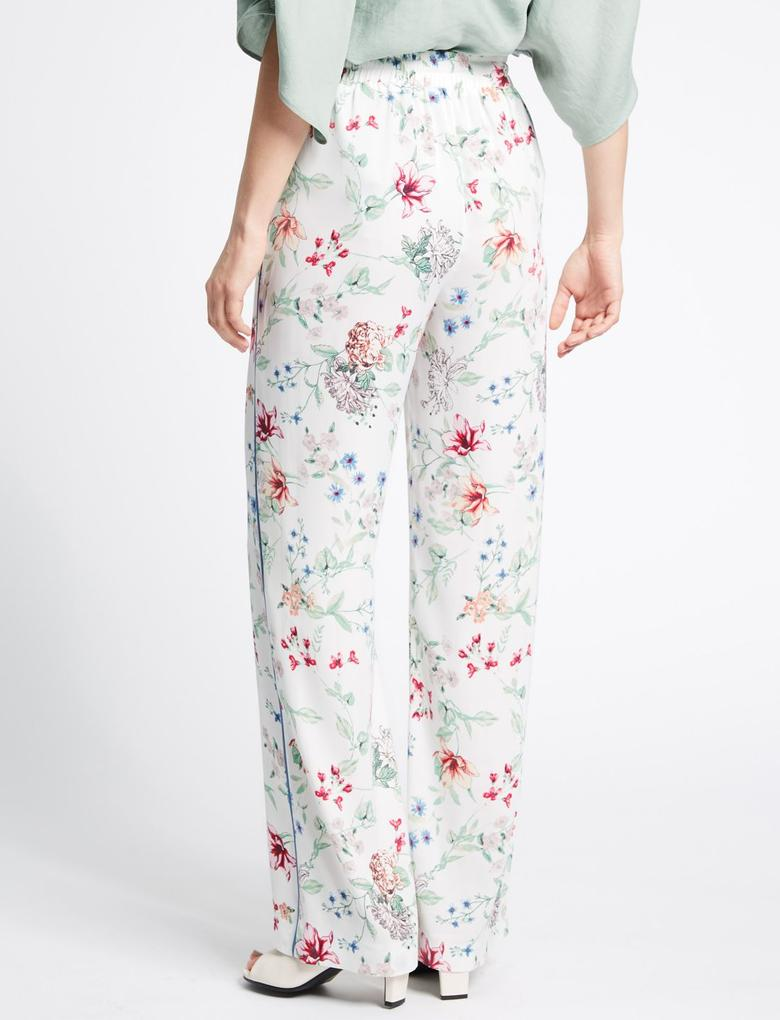 Bej Çiçek Desenli Tapered Leg Pantolon