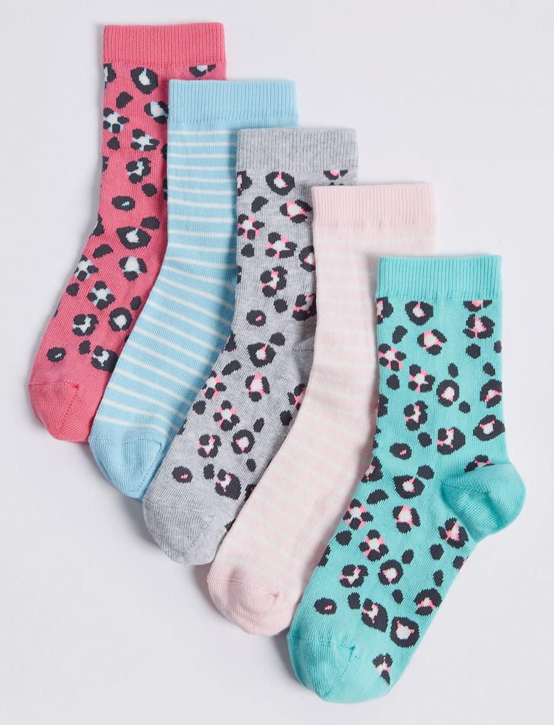 Pembe 5'li Pamuklu Çorap