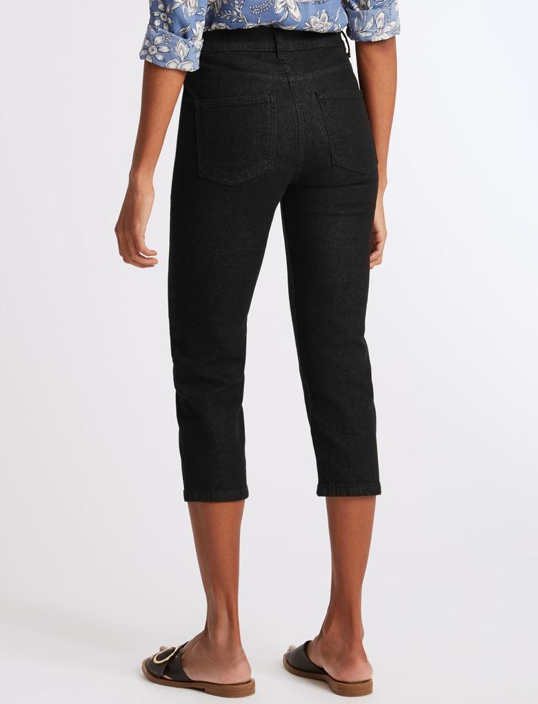 Straight Leg Orta Belli Kısa Jean Pantolon