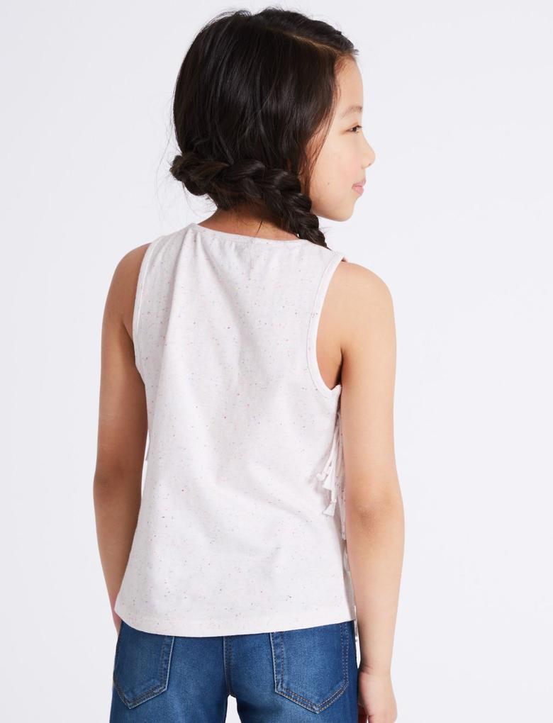 Beyaz Pamuklu Pullu Kolsuz Bluz