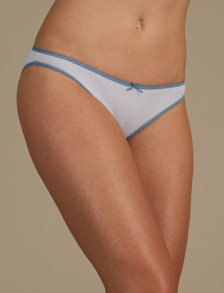 Mavi 5'li Saf Pamuklu Bikini Külot