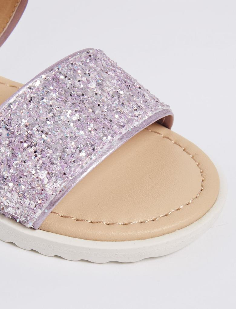 Mor Cırtcırtlı Açık Ayakkabı