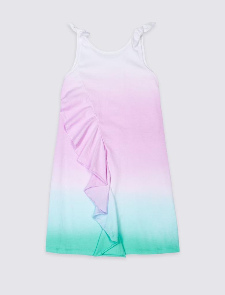 Multi Renk Saf Pamuklu Elbise