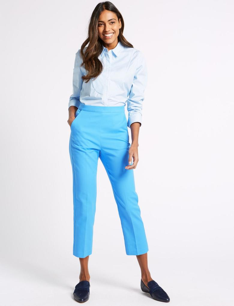 Mavi Pamuklu Slim Leg Kısa Pantolon