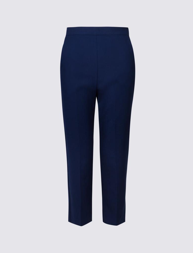 Lacivert Pamuklu Slim Leg Kısa Pantolon