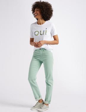 Yeşil Relaxed Slim Orta Belli Jean Pantolon