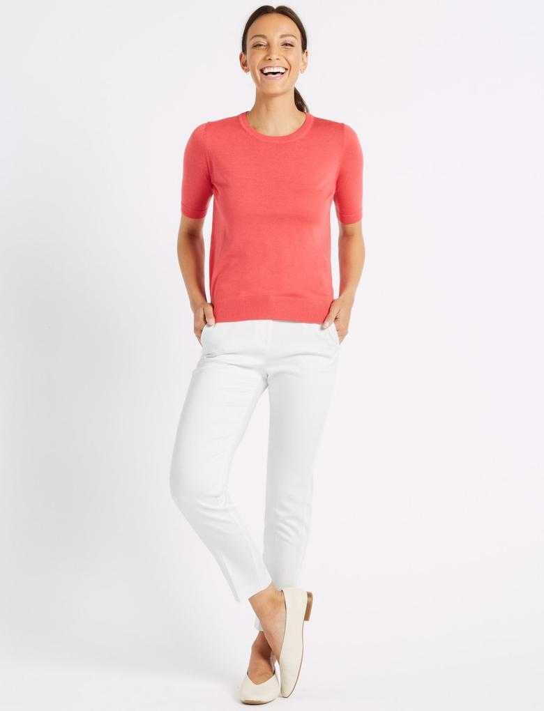 Beyaz Pamuklu Slim Leg 7/8 Pantolon