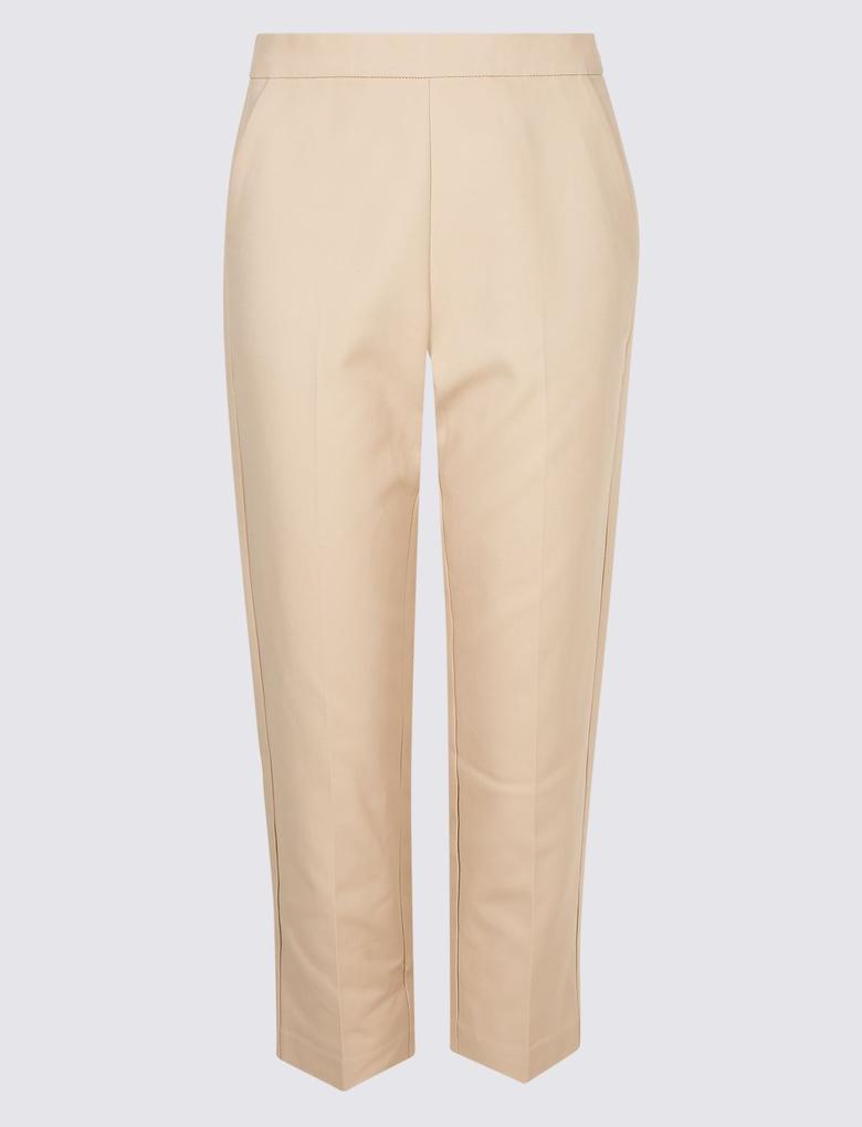 Bej Pamuklu Slim Leg Kısa Pantolon