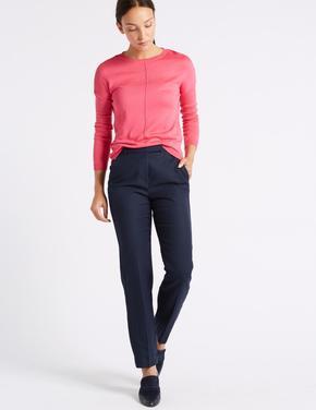 Lacivert Keten Karışımlı Straight Leg Pantolon
