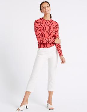 Beyaz Pamuklu Slim Leg Kısa Pantolon