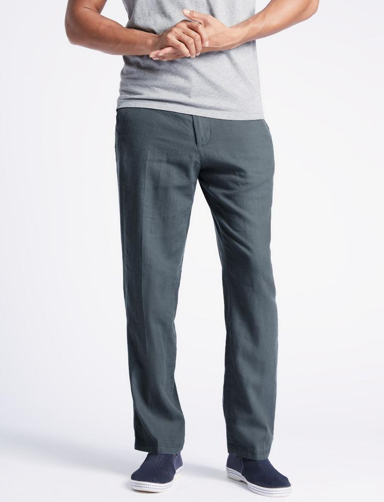 Regular Fit Keten Chino Pantolon